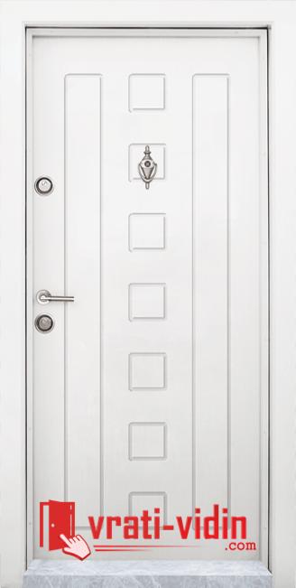 Блиндирана входна врата модел T-712, цвят Бял