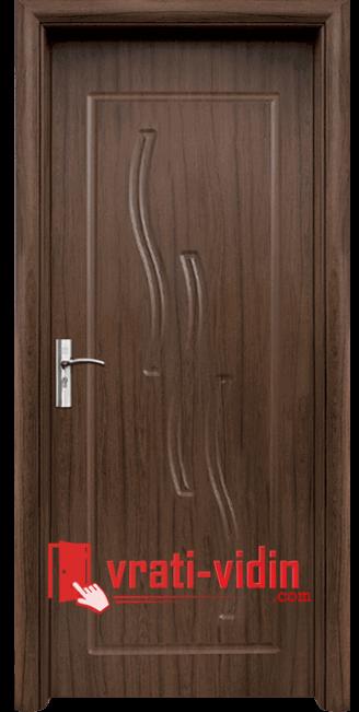 Интериорна HDF врата модел 014-P, цвят Орех