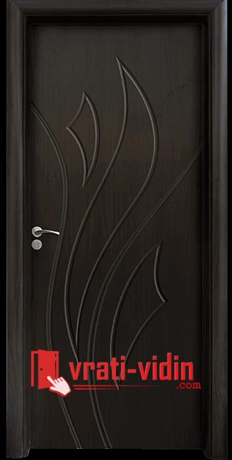 Интериорна HDF врата модел 033-P, цвят Венге