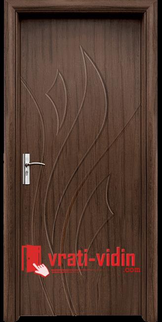 Интериорна HDF врата модел 033-P, цвят Орех