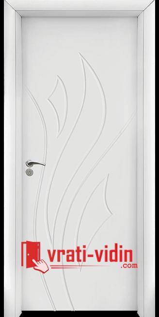 Интериорна HDF врата модел 033-P, цвят Бял