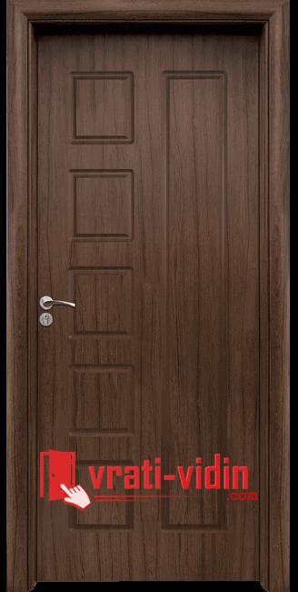 Интериорна HDF врата модел 048-P, цвят Орех