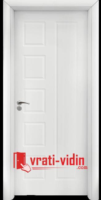 Интериорна HDF врата модел 048-P, цвят Бял