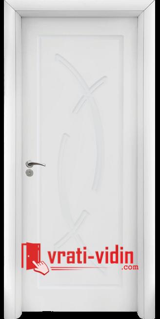 Интериорна HDF врата модел 056-P, цвят Бял