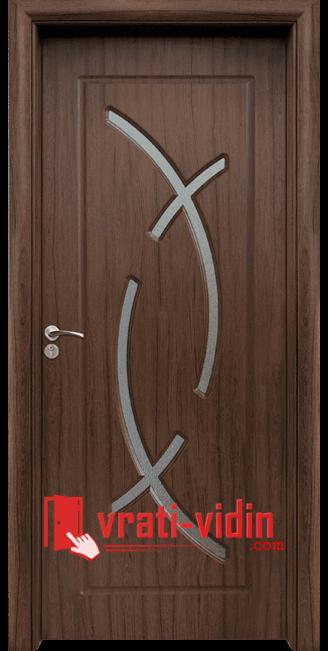Интериорна HDF врата модел 056, цвят Орех